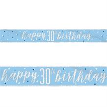Blue and Silver Holographic 30th Birthday Foil Banner | Decoration