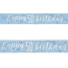 Blue and Silver Holographic 50th Birthday Foil Banner | Decoration