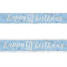 Blue and Silver Holographic 60th Birthday Foil Banner | Decoration