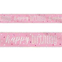 Pink and Silver Holographic Happy Birthday Foil Banner | Decoration