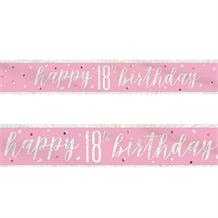 Pink and Silver Holographic 18th Birthday Foil Banner | Decoration