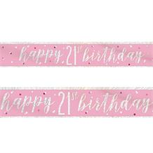 Pink and Silver Holographic 21st Birthday Foil Banner | Decoration