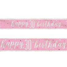 Pink and Silver Holographic 30th Birthday Foil Banner | Decoration