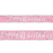 Pink and Silver Holographic 40th Birthday Foil Banner | Decoration
