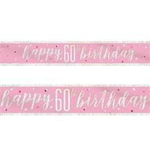 Pink and Silver Holographic 60th Birthday Foil Banner | Decoration