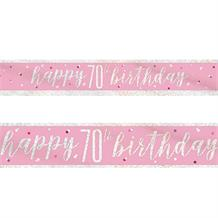 Pink and Silver Holographic 70th Birthday Foil Banner | Decoration