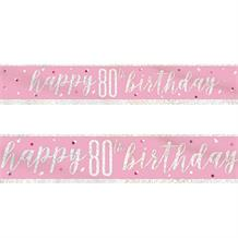 Pink and Silver Holographic 80th Birthday Foil Banner | Decoration