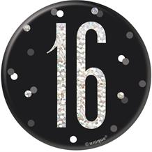 Black and Silver Holographic 16th Birthday Badge