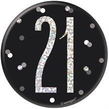 Black and Silver Holographic 21st Birthday Badge