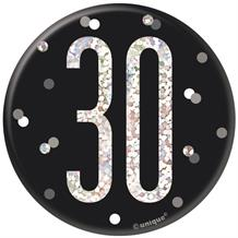Black and Silver Holographic 30th Birthday Badge