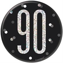 Black and Silver Holographic 90th Birthday Badge