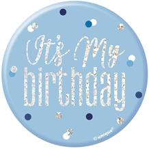 Blue and Silver Holographic It's My Birthday Badge