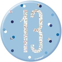 Blue and Silver Holographic 13th Birthday Badge