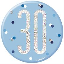 Blue and Silver Holographic 30th Birthday Badge