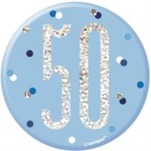 Blue and Silver Holographic 50th Birthday Badge