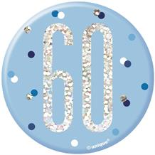Blue and Silver Holographic 60th Birthday Badge