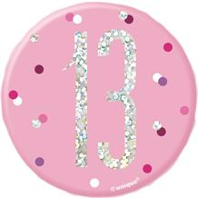 Pink and Silver Holographic 13th Birthday Badge