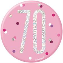 Pink and Silver Holographic 70th Birthday Badge