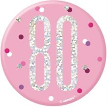 Pink and Silver Holographic 80th Birthday Badge