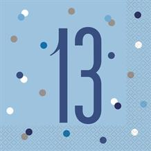 Blue and Silver Holographic 13th Birthday Party Napkins | Serviettes