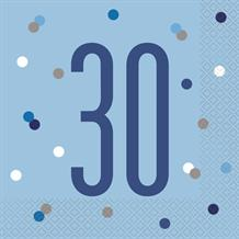 Blue and Silver Holographic 30th Birthday Party Napkins | Serviettes