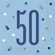 Blue and Silver Holographic 50th Birthday Party Napkins | Serviettes
