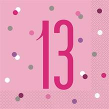 Pink and Silver Holographic 13th Birthday Party Napkins | Serviettes