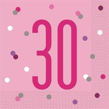 Pink and Silver Holographic 30th Birthday Party Napkins | Serviettes