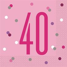 Pink and Silver Holographic 40th Birthday Party Napkins | Serviettes