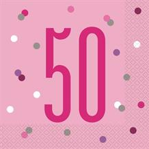 Pink and Silver Holographic 50th Birthday Party Napkins | Serviettes