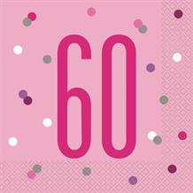 Pink and Silver Holographic 60th Birthday Party Napkins | Serviettes