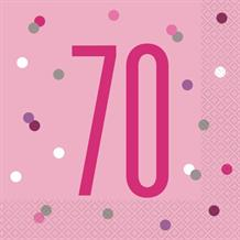 Pink and Silver Holographic 70th Birthday Party Napkins | Serviettes