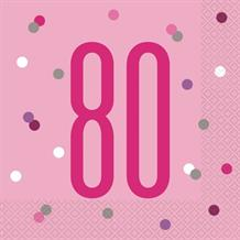 Pink and Silver Holographic 80th Birthday Party Napkins | Serviettes