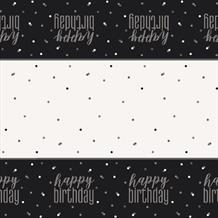 Black and Silver Holographic Happy Birthday Party Tablecover | Tablecloth