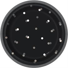 Black and Silver Dots Party Cake Plates