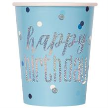Blue and Silver Holographic Happy Birthday Party Cups