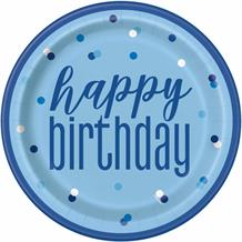 Blue and Silver Dots Happy Birthday 23cm Party Plates
