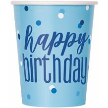 Blue and Silver Glitz Happy Birthday Party Cups