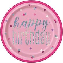 Pink and Silver Holographic Happy Birthday 23cm Party Plates