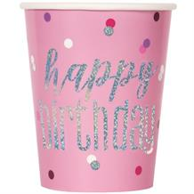Pink and Silver Holographic Happy Birthday Party Cups