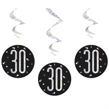 Black and Silver Holographic 30th Birthday Hanging Swirl Party Decorations