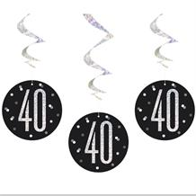 Black and Silver Holographic 40th Birthday Hanging Swirl Party Decorations