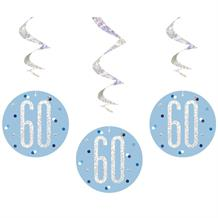 Blue and Silver Holographic 60th Birthday Hanging Swirl Party Decorations