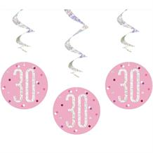 Pink and Silver Holographic 30th Birthday Hanging Swirl Party Decorations