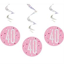Pink and Silver Holographic 40th Birthday Hanging Swirl Party Decorations