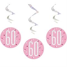 Pink and Silver Holographic 60th Birthday Hanging Swirl Party Decorations