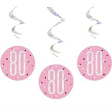 Pink and Silver Holographic 80th Birthday Hanging Swirl Party Decorations