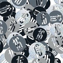 Black and Silver Holographic 16th Birthday Table Confetti | Decoration