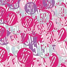 Pink and Silver Holographic 50th Birthday Table Confetti | Decoration