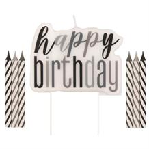 Black and Silver Holographic Happy Birthday Cake Candle Set | Decoration